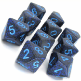 Blue & Black 'Cobalt' Speckled D10 Ten Sided Dice Set